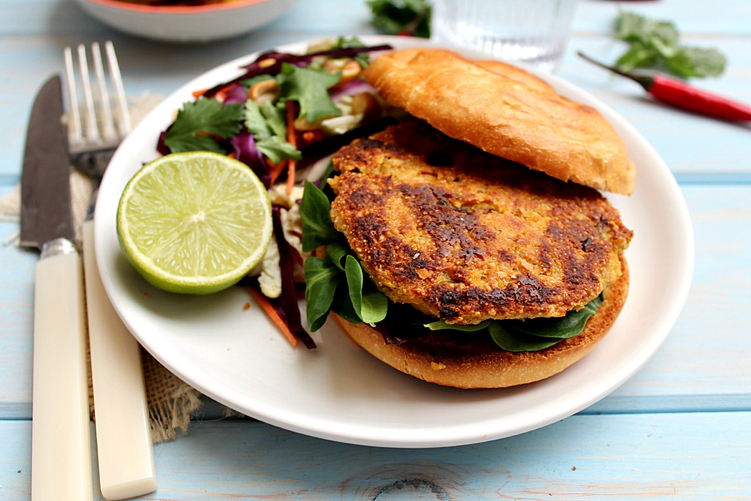 Quinoa Chickpea Burgers with Thai Peanut Lime Slaw ...