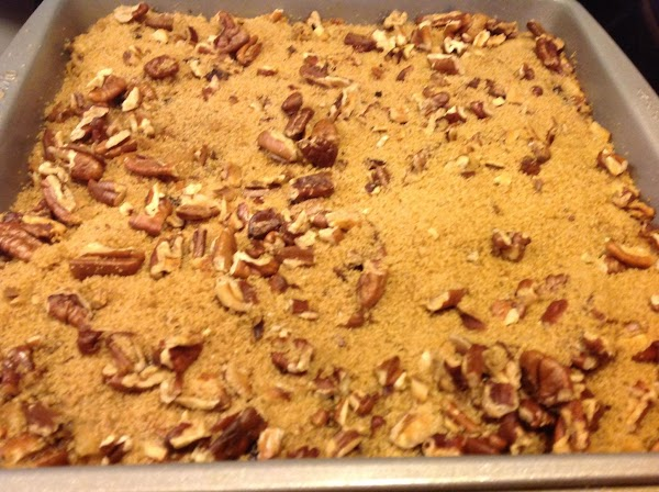 Sprinkle the brown sugar mixture over the bread pudding & return to the oven...
