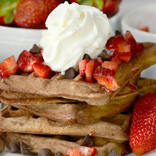 Homemade Chocolate Waffles With Strawberry Topping