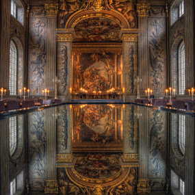 The Painted Hall by Conor MacNeill - Buildings & Architecture Other Interior ( interior, reflection, uk, hall, europe, ornate, hdr, architecture, high dynamic range, dining hall, greenwich, england, london )