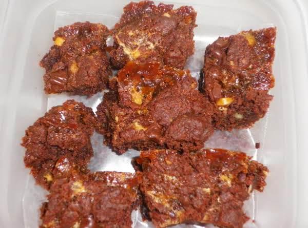 Devilish Carmel Fudge Brownies
