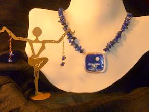 Photo: <BEREHYNYA> {Great Goddess Protectress} unique one-of-a-kind statement jewellery by Luba Bilash ART & ADORNMENT  SEA OF LOVE – БЕРЕГ ЛЮБОВІ - copper enamel pendant, lapis lazuli, rose gold vermeil SOLD/ПРОДАНИЙ