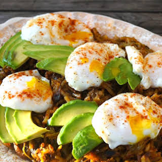 Perfect Poached Eggs Over Double Hatch Hash Browns.
