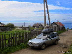 """Photo: The view from our """"hotel"""" (read campsite with wifi and outhouses) in Listvianka, next to the Baikal"""