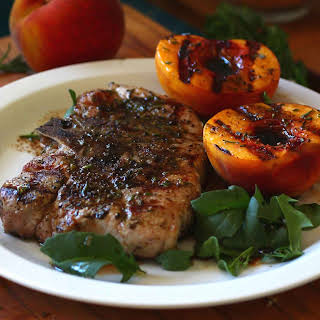 Grilled Rosemary Pork Chops and Peaches with balsamic and lime.