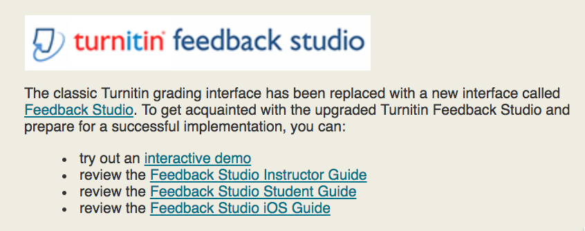 Turnitin's Feedback Studio