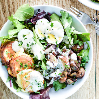 Fried Ricotta Cheese Salad with Sautéed Mushrooms