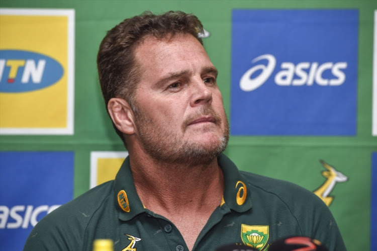 The Springboks head coach and director of rugby Rassie Erasmus addresses the media during his squad announcement for the South Africa-New Zealand Rugby Championship encounter at Loftus Versfeld Stadium in Pretoria on October 04, 2018.