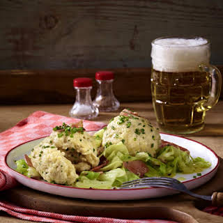 Cheese and Onion Dumplings with Cabbage and Bacon.