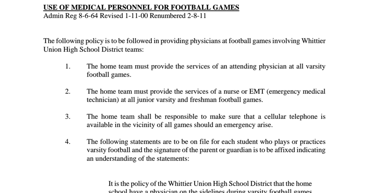 AR 6145 3 Use of Medical Personnel for Football Games pdf