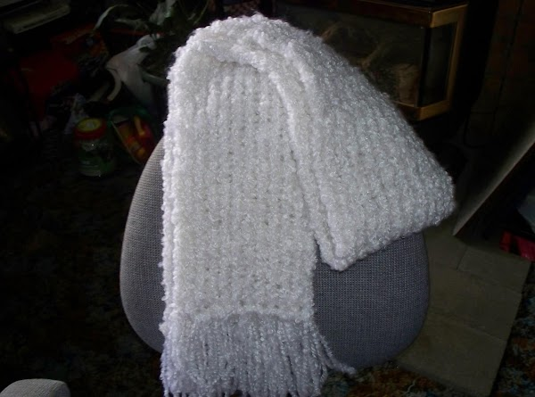 White Scarf made with a Rectangle Loom... made with extra bulky yarn and it...