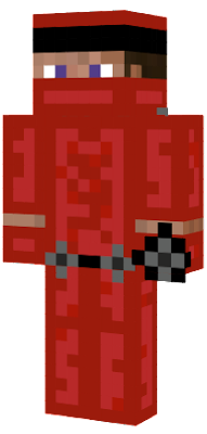Steve with red ninja clothes on, shurikans, and two swords.