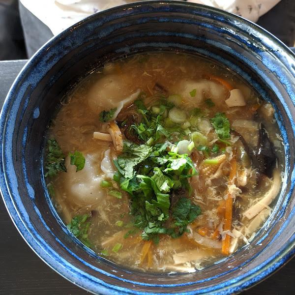 Hot Sour Soup, can get without dumplings