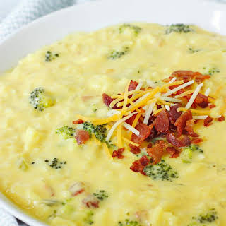 Cheesy Broccoli Rice Soup with Bacon.