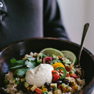 Mexican Burrito Bowl with Cashew Chipotle Cream Sauce.