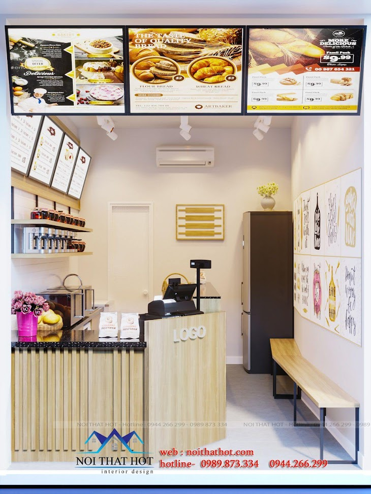 mẫu thiết kế quán bánh mì đẹp