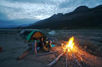 Photo: Night before rafting Chitina river. Hundreds of bear tracks so making fire.