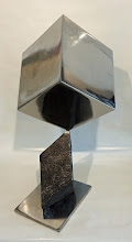 Photo: BALANCING ACT 4 - CUBE ON RHOMBOHEDRON - 24H X 16W X 12D, Lost Foam Iron Casting with Hematite surface, Polished Mild Steel, Interactive Kinetic, Side View