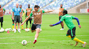 Bafana Bafana striker Bradley Grobler lining up a shot at goal during the South Africa training session at Moses Mabhida Stadium in Durban on September 6 2018.