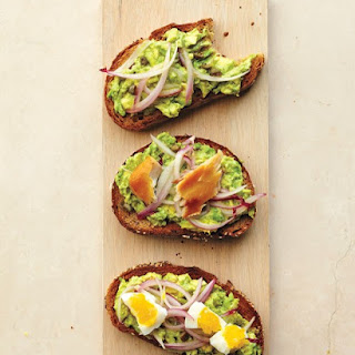 Avocado, Caper, and Pickled-Onion Toast.