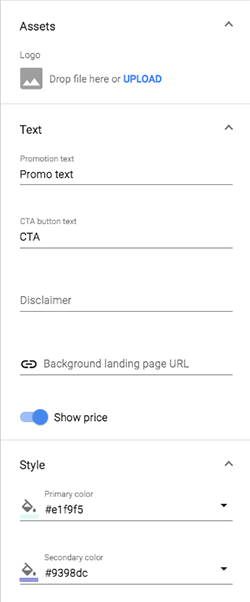 Standard Bid Manager layout dynamic options