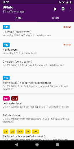 BPInfo - Budapest Public Transport Notifications  screenshots 1