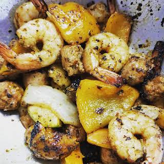 Summer Shrimp & Sausage Undone Kabobs.