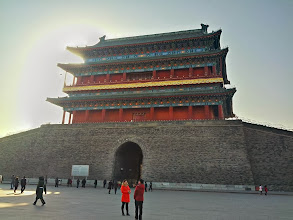 Photo: Colourful temple at the entrance to Tiananmen square