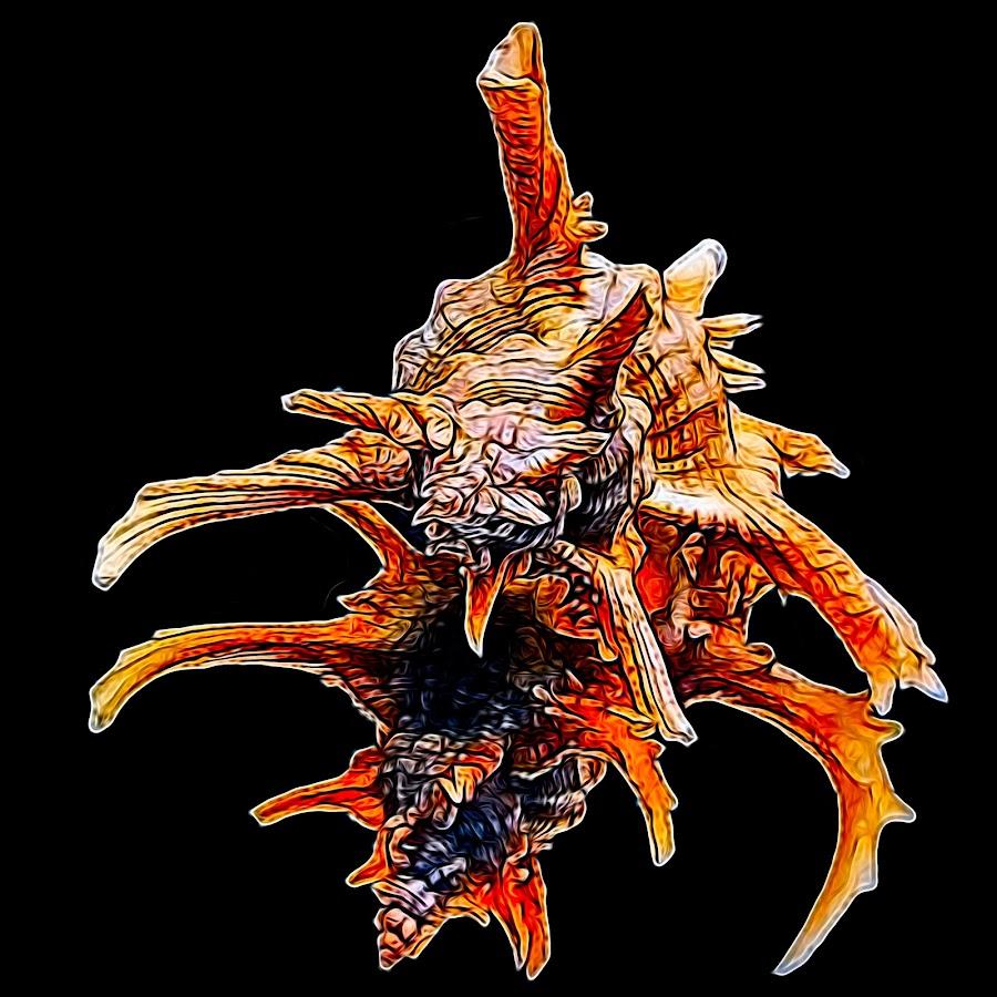 Air Brushed Sea Shell Monster by Dave Walters - Digital Art Things ( macro, abstract, lumix fz2500, sea shell, colors, digital art,  )