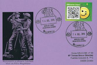 Photo: Tarjeta del matasellos turístico de Mieres. Monumento al Minero Jubilado