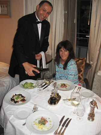 One of the many things we love about Crystal Cruises is the Penthouse Deck butler service. Here our butler, Engin serves us a full-course meal.