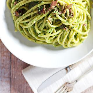 Creamy Kale Pesto Bucatini with Prosciutto.