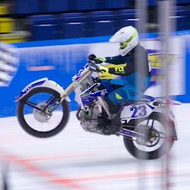 by Art Tilts - Sports & Fitness Motorsports ( motorcycle, ice racing, racing, winner, helmet, ice, wheelie, checkered )