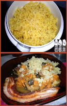 Photo: riz thaï au curry et à l'oignon, tajine de courgettes et patates douces, ventrèche au piment doux