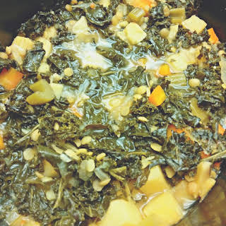 Slow Cooker Kale, Lentil, and Sweet Potato Stew.