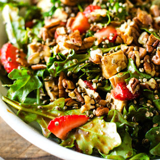 Strawberry Pecan Hemp Seed Salad with Spicy Chocolate Vinaigrette Recipe