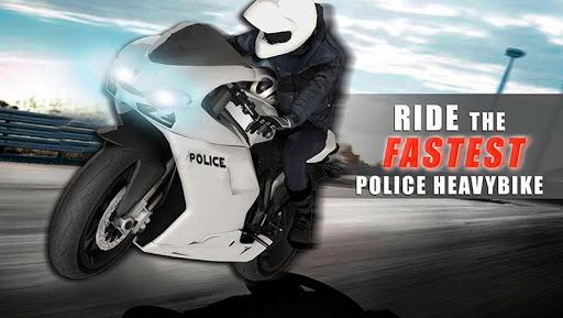 警察オフロードバイクの丘レース