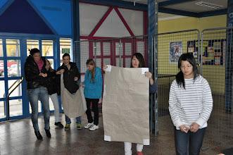 """Photo: Výstava """"Fashion & glamour"""" - Hvar 2011. Instalace výstavy ve vstupním vestibulu školy ve dvouhodinovce výtvarné výchovy (středa 23. listopad 2011)."""