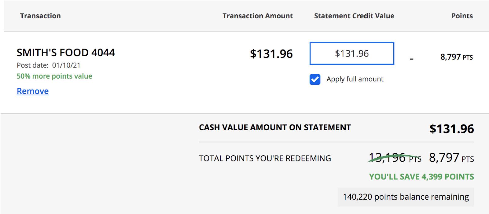 cash value amount on statement