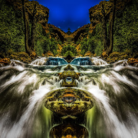 River Monster by Brandon Montrone - Digital Art Places ( abstract, water, mirror, mirrored reflections, mountain, art, fine art, trees, canyon, long exposure, symmetry, fractal, rocks, river,  )
