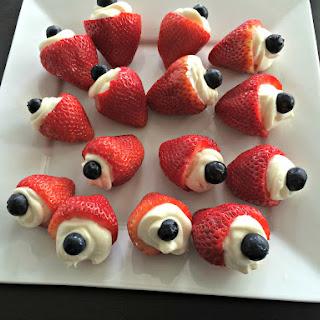 Patriotic Strawberry Cheesecake Bites.
