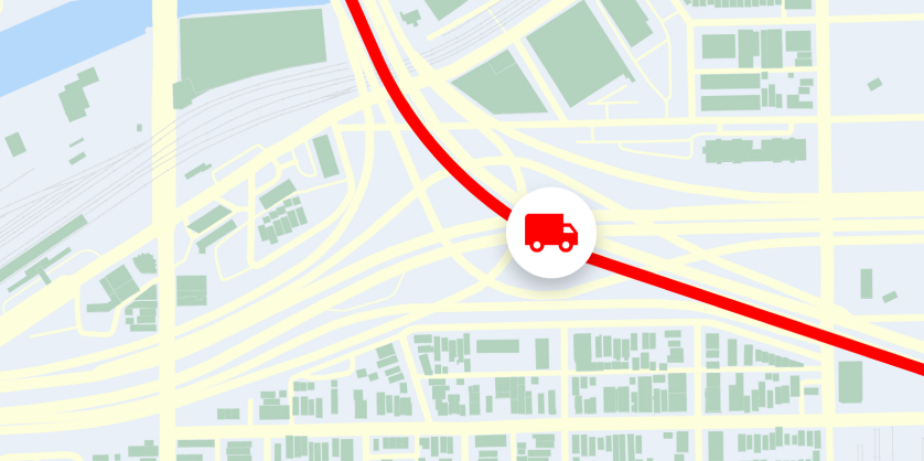 Truck route on a map
