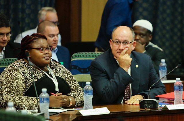 Cllr Siyasanga Sijadu and mayor Athol Trollip during the council sitting on 10 April, 2018. Speaker Jonathan Lawack adjourned the special sitting permanently after it had descended into chaos.
