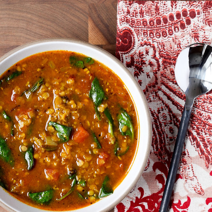 Indian Red Lentil Soup with Spinach Recipe