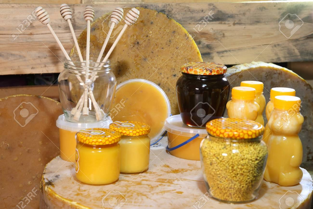 Beekeeping. Products Of Livelihoods Of Bees. Beeswax, Honeycomb,.. Stock  Photo, Picture And Royalty Free Image. Image 93254887.