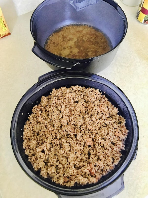 Brown your ground beef and then drain off the excess grease. I brown my...