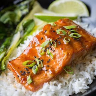 Teriyaki Salmon Rice Bowls with Bok Choy.