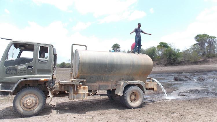 Water bowser at Lake Kenyatta in Mpeketoni.