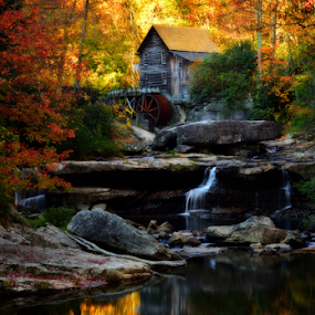 Babcock Mills by Dan Pham - City,  Street & Park  Historic Districts ( reflection, national park, mills, fall colors, waterfall, sunrise, house,  )