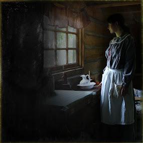 By the Window by Ilona Stefan - People Portraits of Women ( woman, apron, pitcher, window )